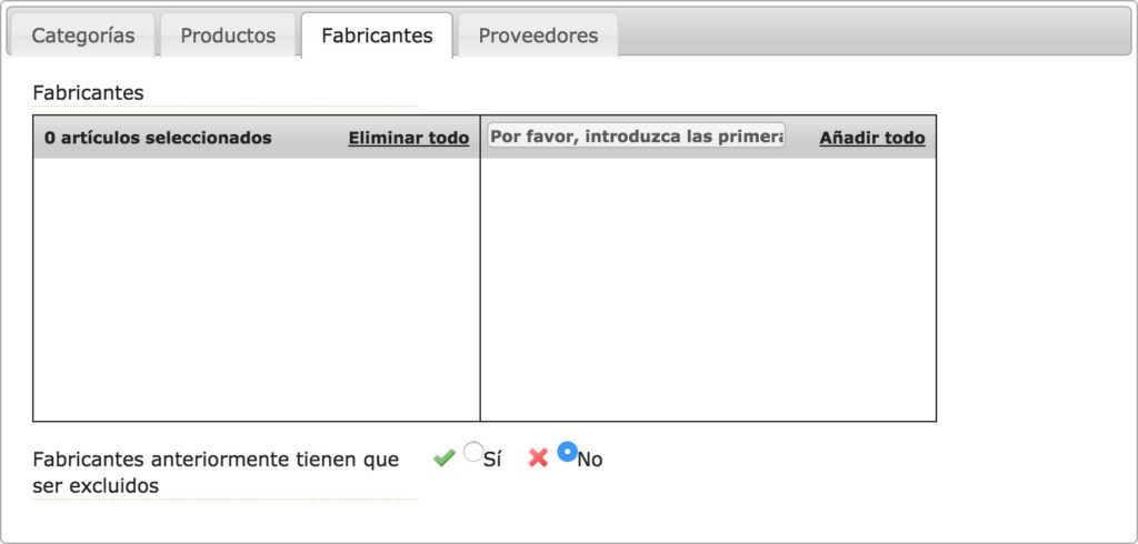 Fabricantes (via Productos)