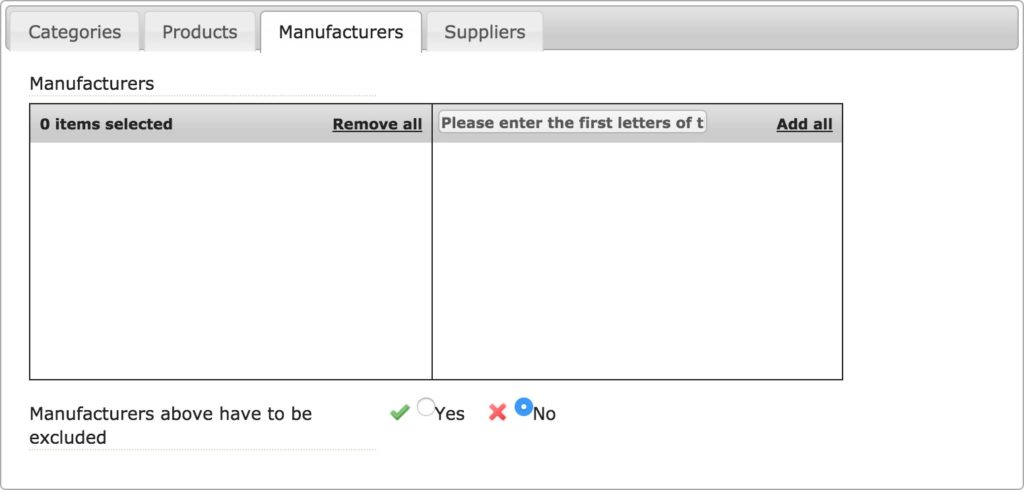 Manufacturers TAB (via products)