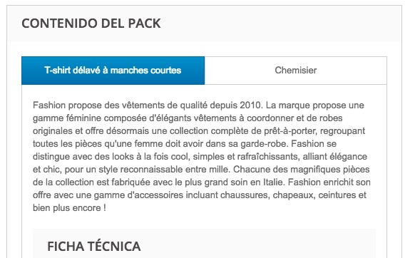 Mostrar la description de los productos del pack-on