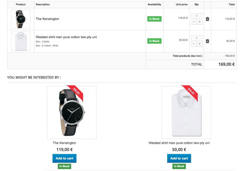 Ofrecer productos activada