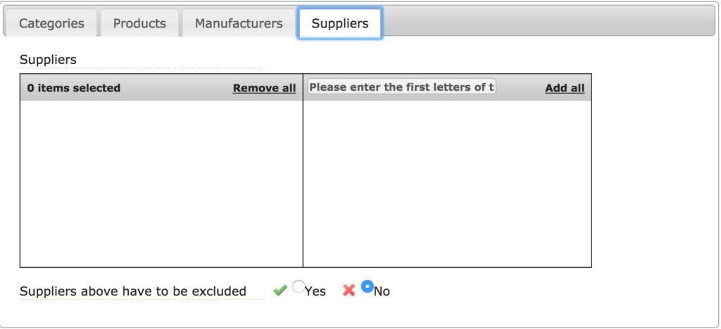 Suppliers TAB (via products)