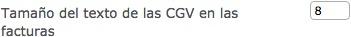 Tamaño del texto de las CGV en las facturas